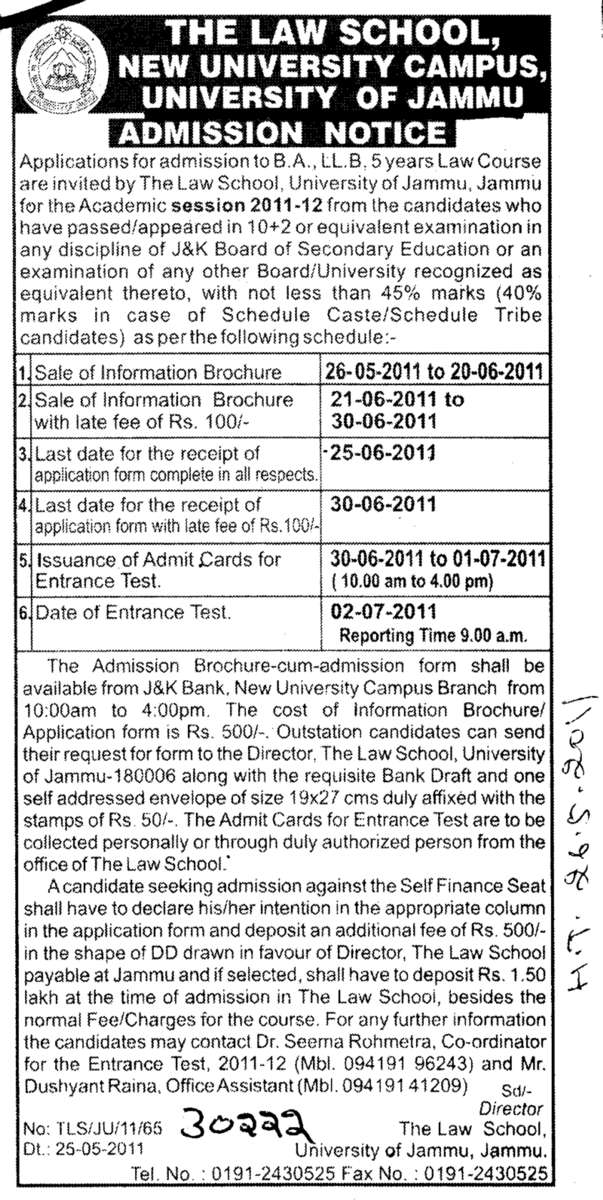BA and LLB Courses (Jammu University)