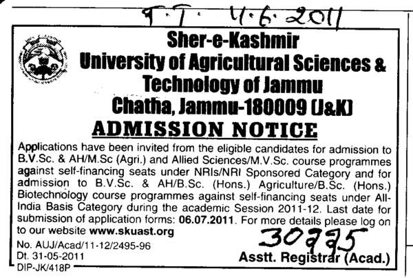BVSc and MSc in Agriculture (Sher-e-Kashmir University of Agricultural Sciences and Technology of Kashmir)
