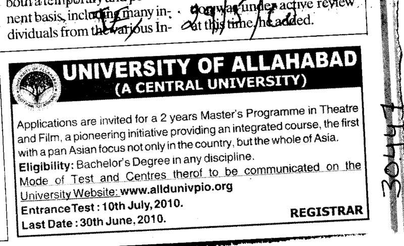 Two years Masters Programme in Theatre and Film (University of Allahabad)