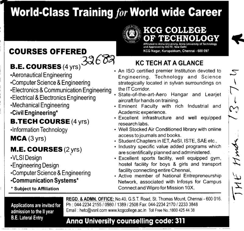 BE BTech and MCA etc (KCG College of Technology)