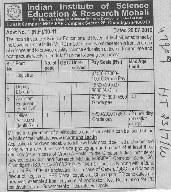 Registrar Deputy Librarian and Office Assistant etc (Indian Institute of Science Education and Research (IISER))