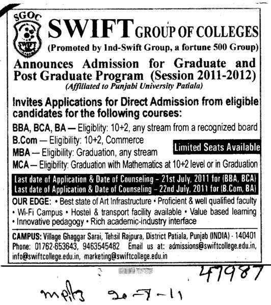 BBA BCA MCA and MBE etc (Swift Group of College (SGOC))