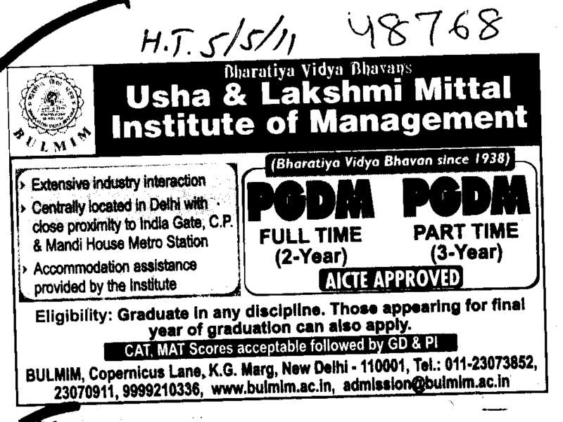 Post Graduate Diploma in Management (Bhavan Usha And Lakshmi Mittal Institute of Management (BULMIM))