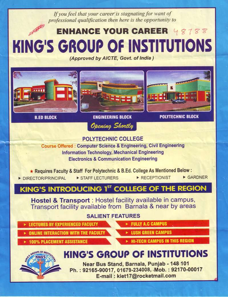 BTech in all trades (Kings Group of Institutions)