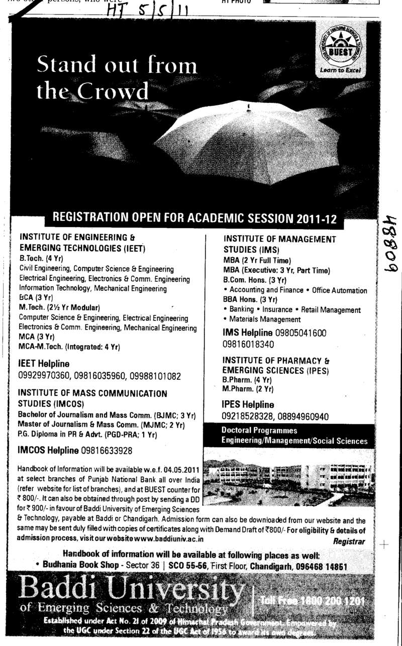 BTech BSc BCom BBA and MBA etc (Baddi University of Emerging Sciences and Technologies)