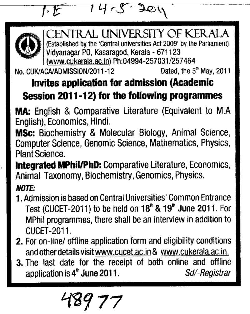 MA and MSc Courses (Central University of Kerala)