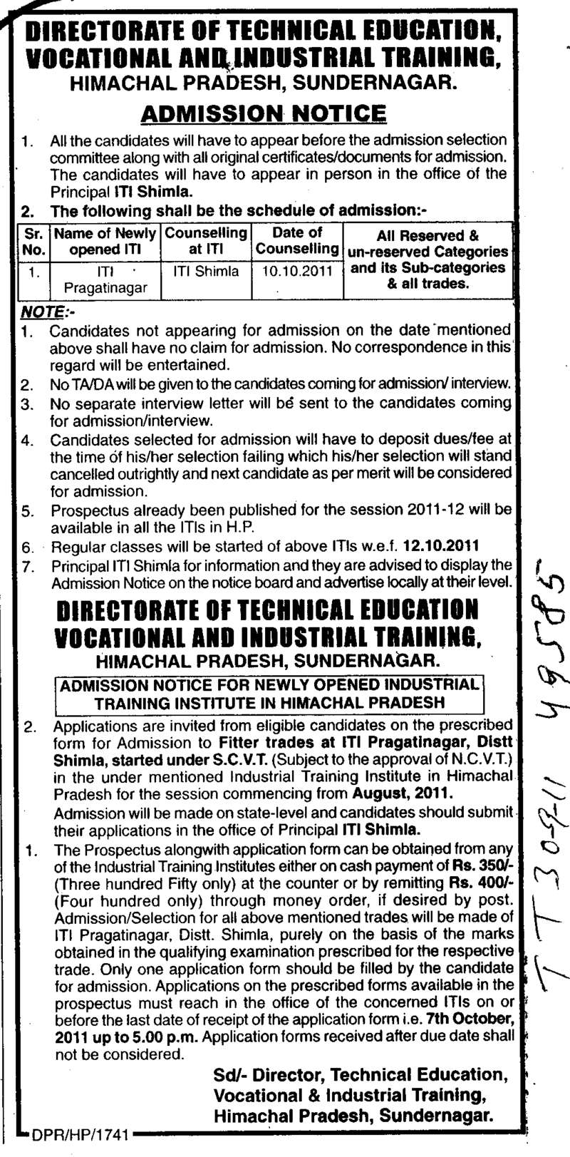 directorate of technical education vocational and industrial fitter trades at iti pragatinagar