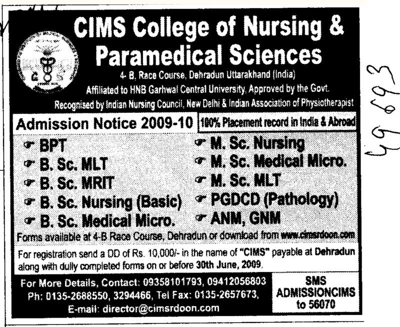BPT GNM ANM and PGDCD etc (CIMS College of Nursing and Paramedical Sciences)