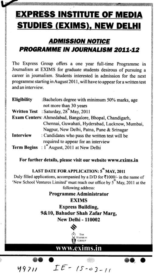 Programme in Journalism (Express Institute of Media Studies)