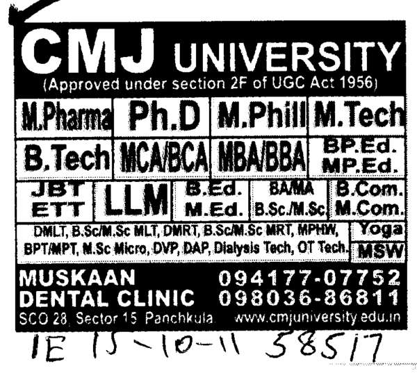 BTech MPharma PhD and MPhill etc (Chander Mohan Jha (CMJ) University)