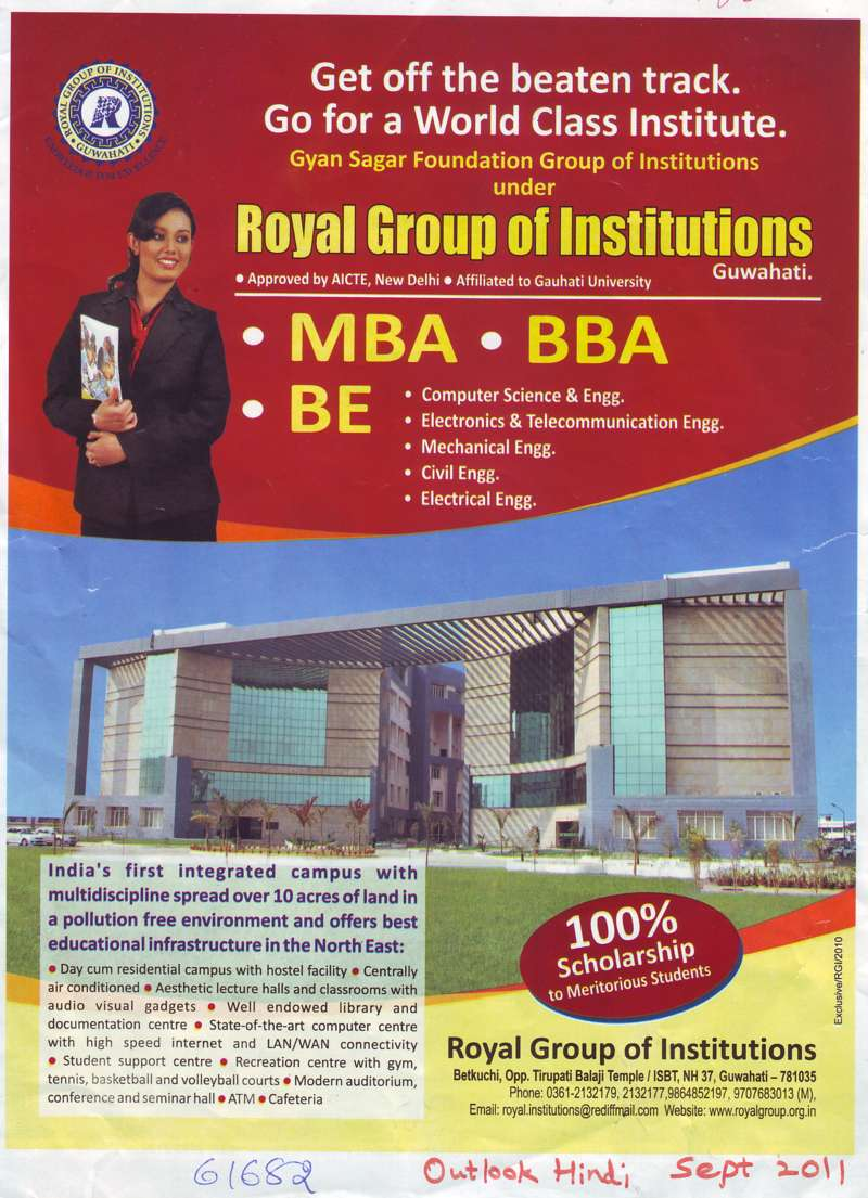 MBA BBA and BE (Royal Group of Institutions)