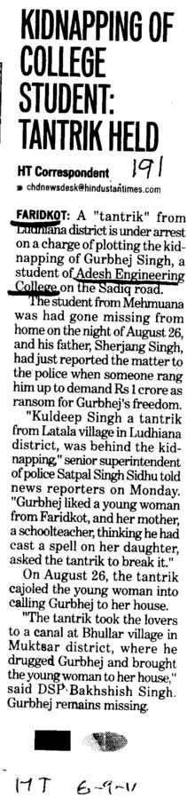 Kidnapping of College Student (Adesh Institute of Engineering and Technology (AIET))