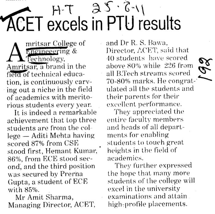 ACET excels in PTU results (Amritsar College of Engineering and Technology ACET Manawala)