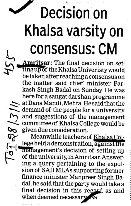 Decision on Khalsa varsity on consensus (Khalsa College)