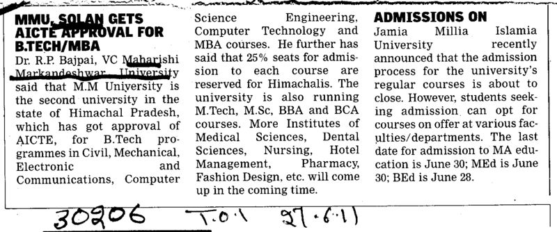 BTech and MBA (Maharishi Markandeshwar University)