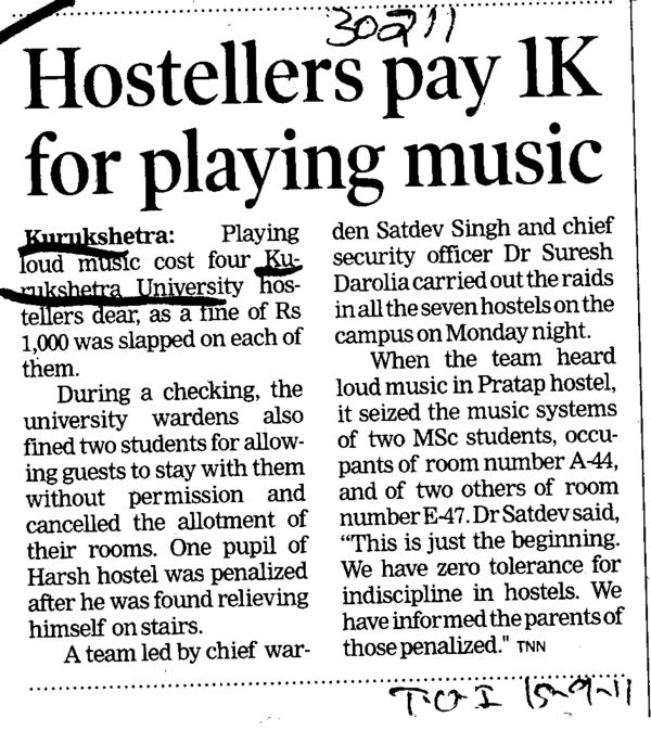 Hostellers pay 1K for playing music (Kurukshetra University)