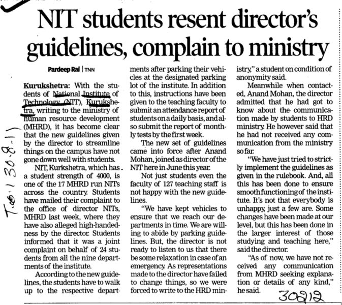 NIT Students resent directors guidelines complain to ministry (National Institute of Technology (NIT))