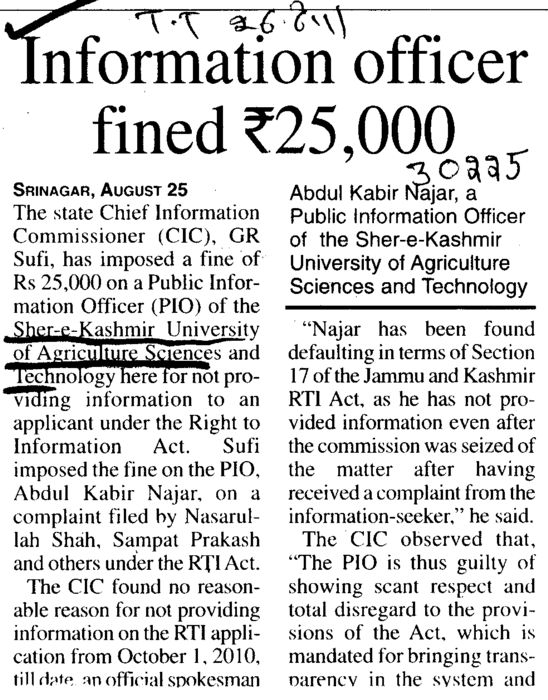 Information officer fined Rs Twenty Five thousands (Sher-e-Kashmir University of Agricultural Sciences and Technology of Kashmir)