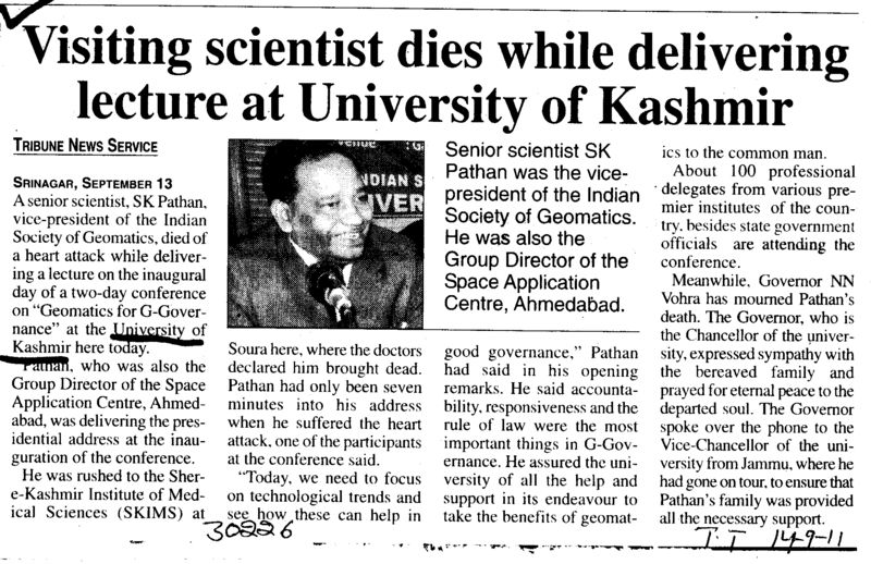 Visiting scientist dies while delivering lecture at University of Kashmir (University of Kashmir Hazbartbal)