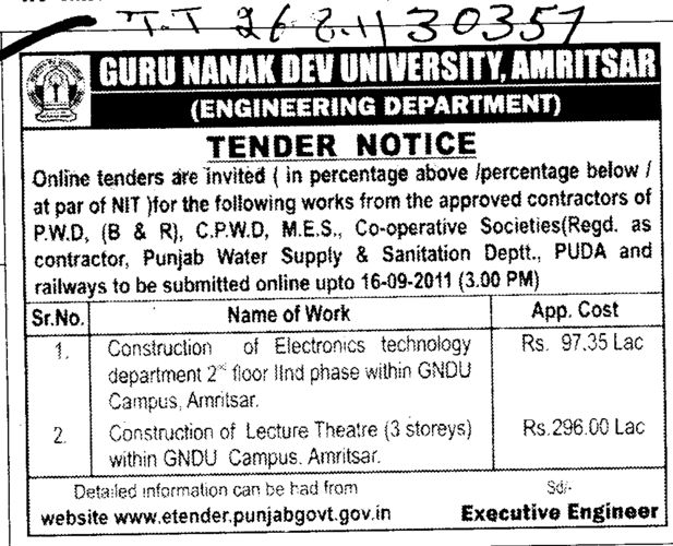 Tender Notice for Construction of Lecture Theatre and etc (Guru Nanak Dev University (GNDU))