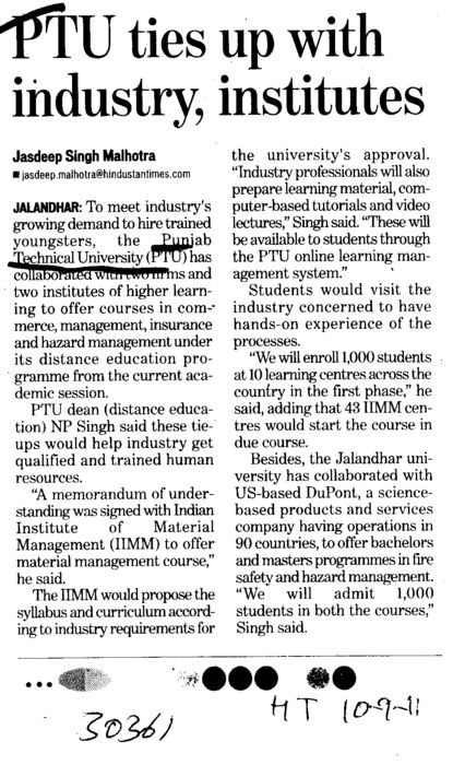 PTU ties up with industry institutes (Punjab Technical University PTU)