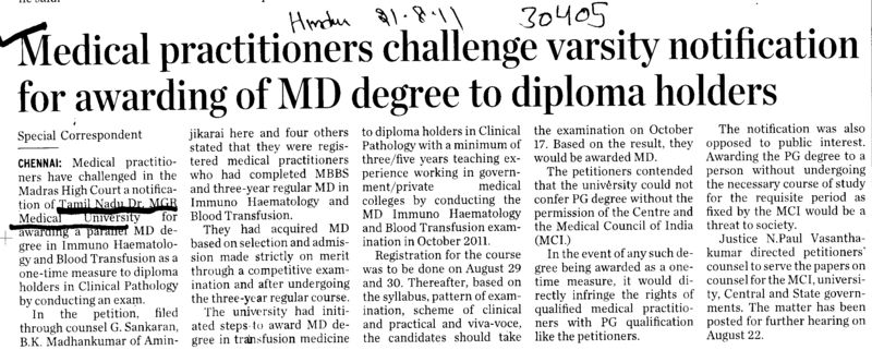 Medical practitioners challenge varsity notification for awarding of MD degree to diploma holders (Tamil Nadu Dr MGR Medical University)