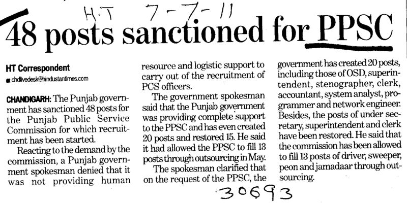 48 posts sanctioned for PPSC (Punjab Public Service Commission (PPSC))