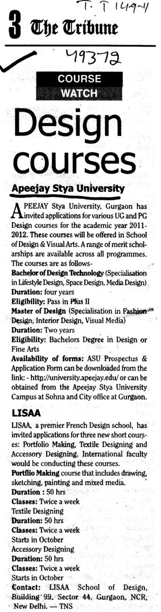 Design Courses (Apeejay Stya University)