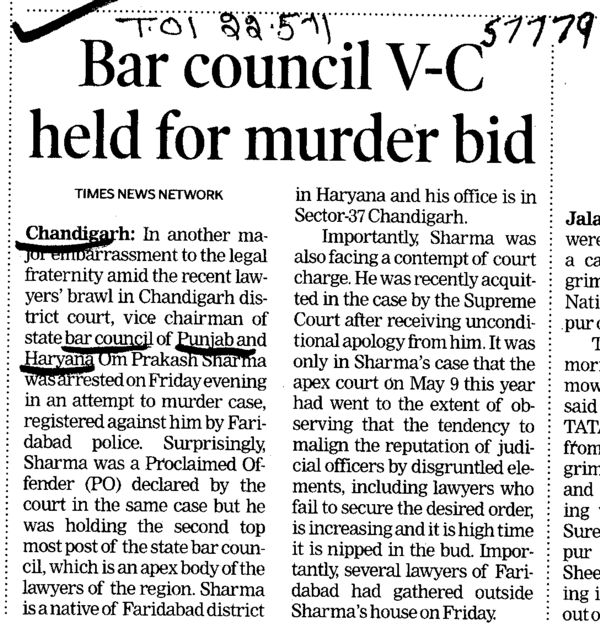 Bar Council VC held for murder bid (Bar Council of Punjab and Haryana)