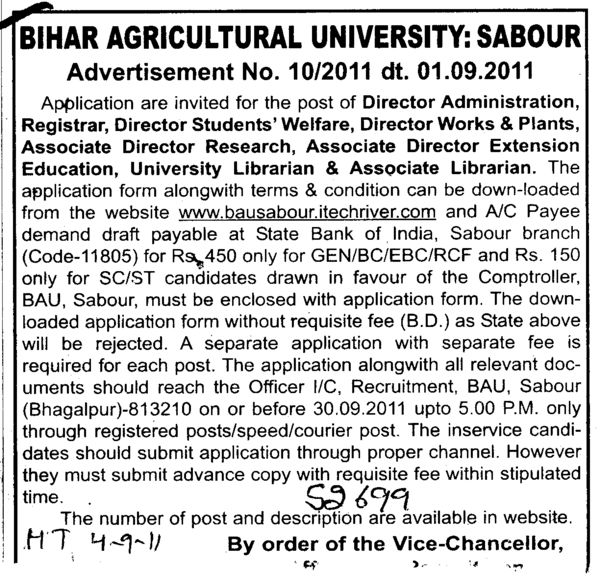 Director Administration Registrar and University Librarian etc (Bihar Agricultural University)