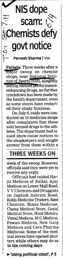 NIS dope Scam Chemists defy govt notice (Netaji Subhas National Institute of Sports (NIS))