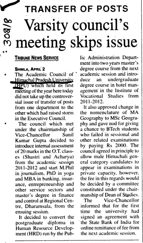 Varsity Councils meeting skips issue (Himachal Pradesh University)