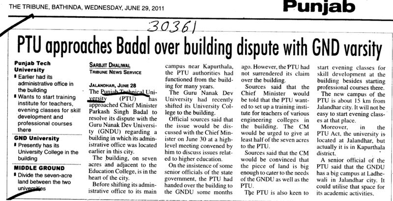 PTU approaches Badal over Building dispute with GND varsity (IK Gujral Punjab Technical University PTU)