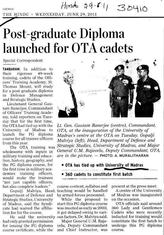 Post Graduate Diploma Launched for OTA cadets (University of Madras)