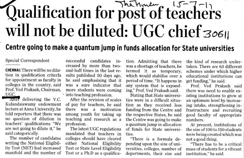 Qualification for post of teachers will not be diluted (University Grants Commission (UGC))