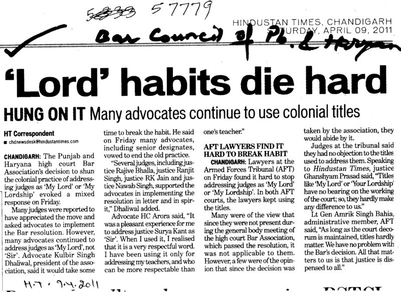 Lord habits die hard (Bar Council of Punjab and Haryana)