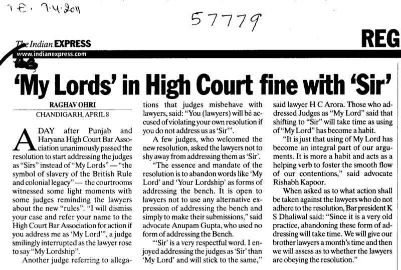 My Lords in High Court fine with Sir (Bar Council of Punjab and Haryana)