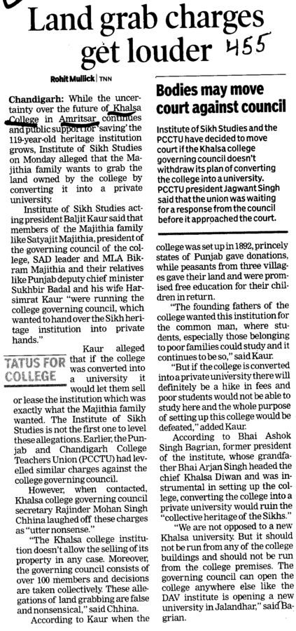 Land grab charges get louder (Khalsa College)