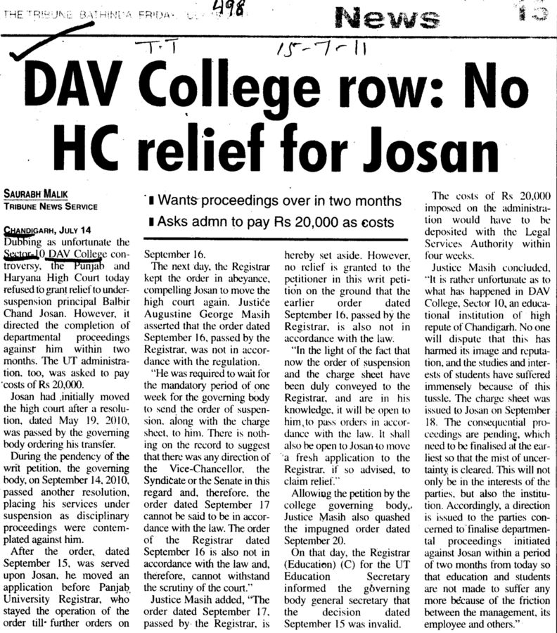 DAV College row No HC relief for Josan (DAV College Sector 10)