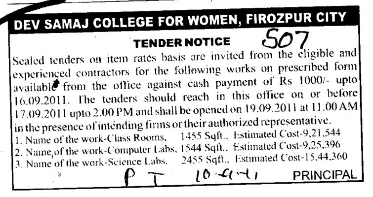 Tender Notice invited from the eligible and experienced contractors (Dev Samaj College for Women)