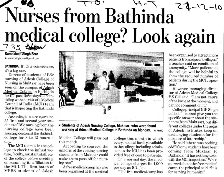 Nurses from Bathinda medical college (Adesh Institute of Medical Sciences and Research)