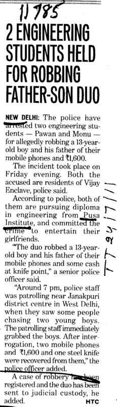 2 Engineers Students held for Robbing Father (Pusa Polytechnic)