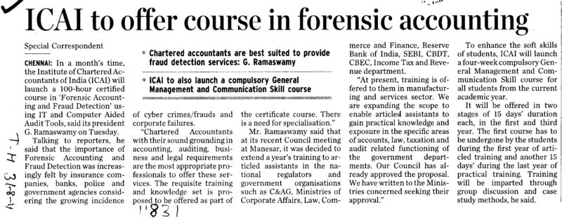 ICAI to offer course in forensic accounting (Institute of Chartered Accountants of India (ICAI))