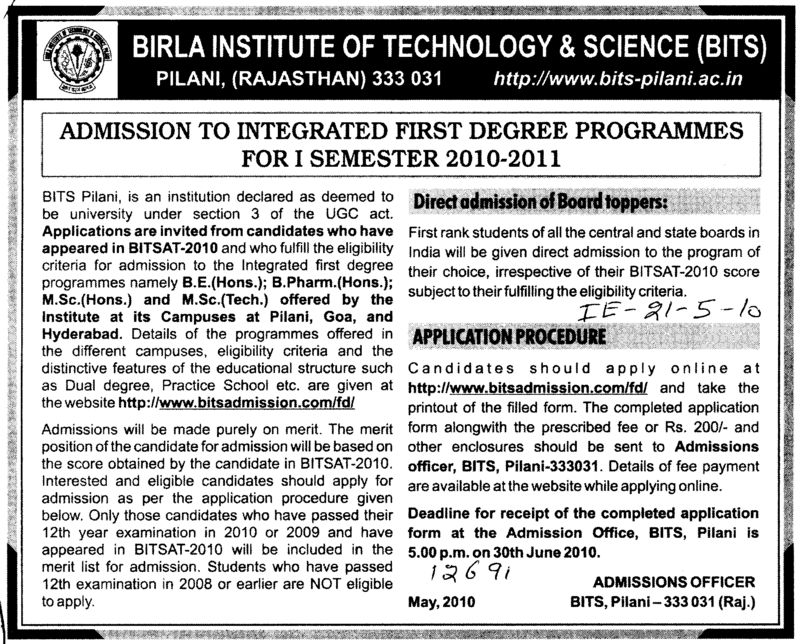 Integrated First Degree Programmes for 1 Semester (Birla Institute of Technology and Science (BITS))