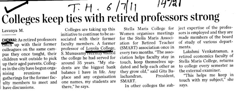 Colleges keep ties with retired proffessors strong (Loyola College)