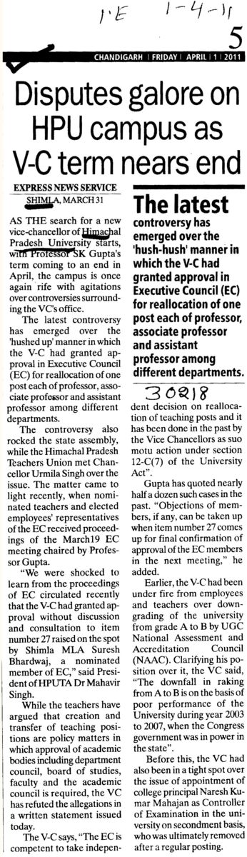Disputes galore on HPU Campus as VC term nears end (Himachal Pradesh University)