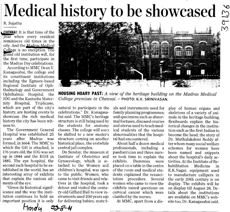 Medical history to be showcased (MADRAS MEDICAL COLLEGE, COLLEGE OF NURSING)