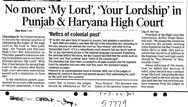 No more My Lord Your Lordship in Punjab and Haryana High Court (Bar Council of Punjab and Haryana)