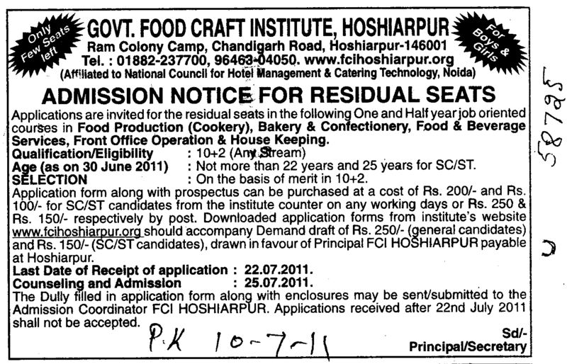 Residual Seats in Food Production Bakery and Confectionery etc (Government Food Craft Institute)