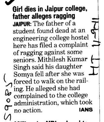 Girl dies in Jaipur College father alleges ragging Jaipur (Rajasthan College of Engineering for Women)